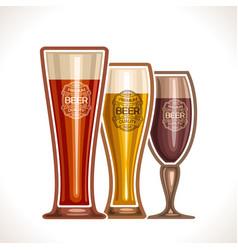Glass cups of beer vector
