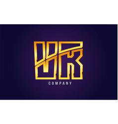 Gold golden alphabet letter vr v r logo vector