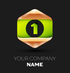 green number one logo in golden-green hexagonal vector image