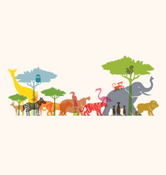 group of wild animals zoo vector image