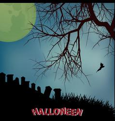 Halloween background with creepy tree graveyard vector