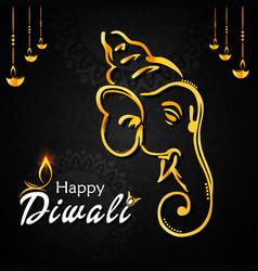 happy diwali banner vector image