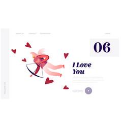 happy valentines day character website landing vector image