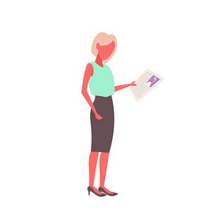 Hr woman holding cv form choosing resume new job vector