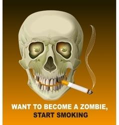 Human skull smoking cigarette Harm of smoking vector