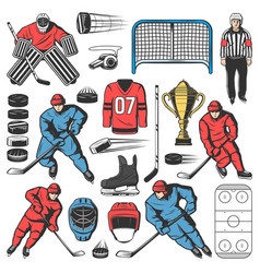 Ice hockey players outfit team equipment vector