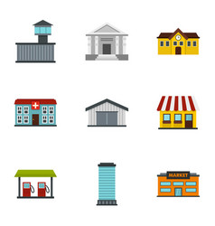 Infrastructure icons set flat style vector
