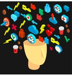 Isometric icons collection of human brain process vector image