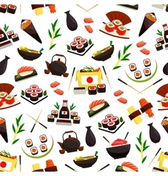 Japanese cuisine seafood sushi seamless pattern vector
