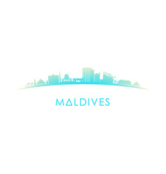 maldives skyline silhouette design colorful vector image