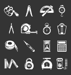 Measure precision icons set grey vector
