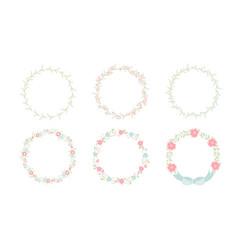 minimal sweet pastel wreath flowers frame vector image