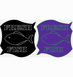 Minimalistic label fresh fish on a black and vector