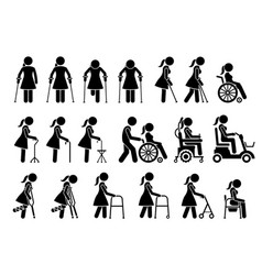 Mobility aids medical tools and equipment stick vector