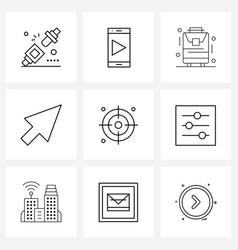 Modern line 9 simple line icons goal vector