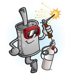 Muffler cartoon character welding metal vector