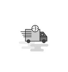 on time delivery web icon flat line filled gray vector image