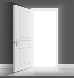 Open white entrance door Business success vector image