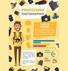 photographer man profession cartoon vector image