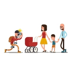 Photographer shooting happy family vector