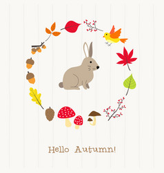 rabbit with autumn frame card vector image
