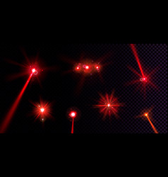 Red flare lights glow flash beams lens effect vector