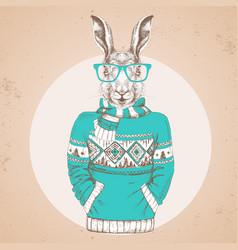 Retro hipster fashion animal rabbit in pullover vector