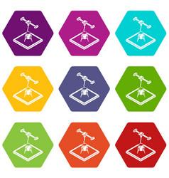 rocket d printing icons set 9 vector image