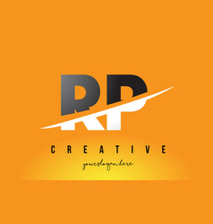 Rp r p letter modern logo design with yellow vector