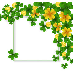 Saint patrick day border with green and gold four vector
