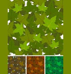 Seamless maple leaves background set vector