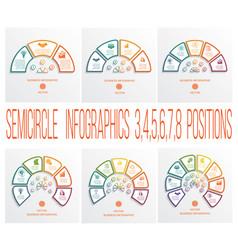 semicircles infographics templates 3 4 5 6 7 8 vector image
