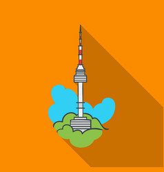 Seoul tower icon in flate style isolated on white vector