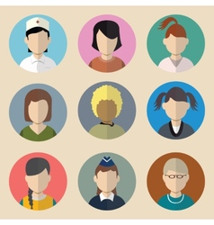 set avatars woman vector image