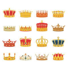 set king queen crowns isolated on white background vector image