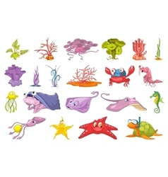 Set of seaweed and sea animals vector