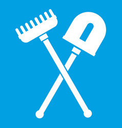 Shovel and rake icon white vector