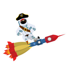 Space pirate on rocket filibuster spaceman vector