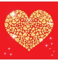 Sparkling heart with many small hearts inside vector