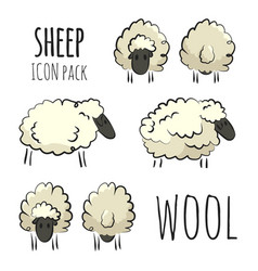 stylized colorful hand-drawn sheep icon pack vector image