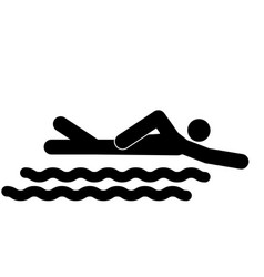 Swimming person stick the black color icon vector