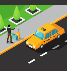 Taxi service isometric background vector