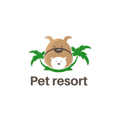 Template logo design with dogcat and palm trees vector