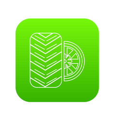 tire icon green vector image