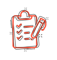 to do list icon in comic style document checklist vector image