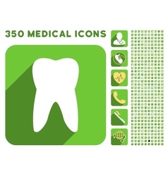 Tooth Icon and Medical Longshadow Icon Set vector image