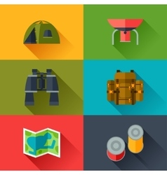 Tourist set of camping equipment icons in flat vector image