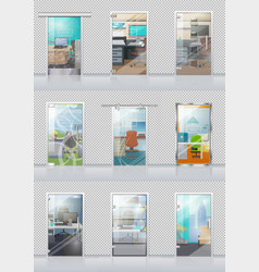 transparent door set with view on study objects vector image
