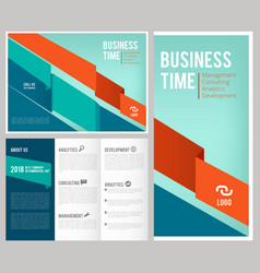 trifold business brochure 3 leaflet cover and vector image