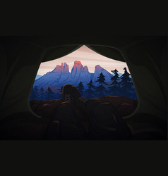 view from tent to mountains hiking vector image
